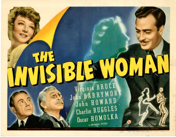 環球影業 1940 年代推出接續《隱形人》的第三部電影:《The Invisible Woman》海報,調性走詼諧風格,並不像想像中恐怖。