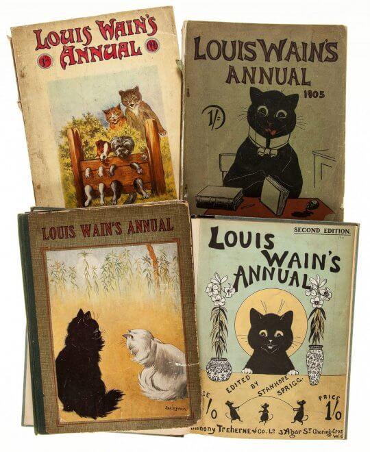 19-20 世紀時期,英國畫家路易斯韋恩 (Louis Wain) 的貓咪畫冊作品。