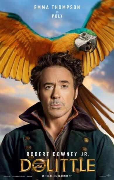 小勞勃道尼主演的 2020 年電影《杜立德》(Dolittle) 海報,鸚鵡是他的老師。