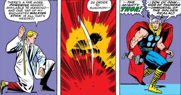 唐納布雷克將拐杖重擊地面後,竟成了雷神索爾。