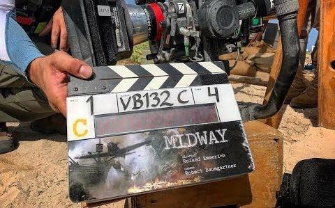 電影《中途島大戰》拍攝中所使用的場記版。