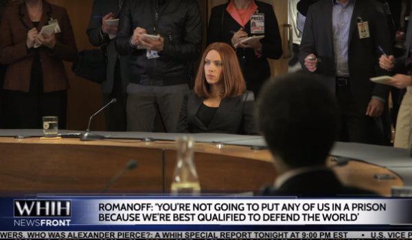 《美國隊長 2:酷寒戰士》黑寡婦揭露神盾局的醜聞。