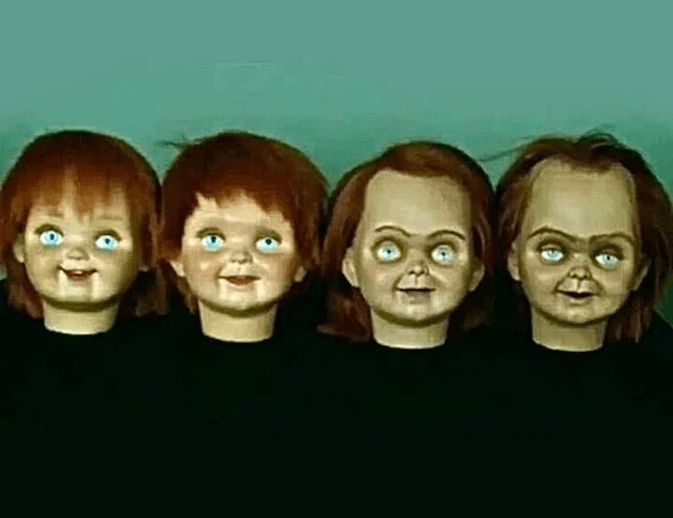 《靈異入侵》(Child's Play) 中的恰吉髮線會隨著電影的發展逐漸「後退」。