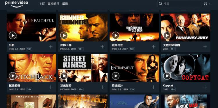 Amazon Prime Video 非自製電影數量偏少