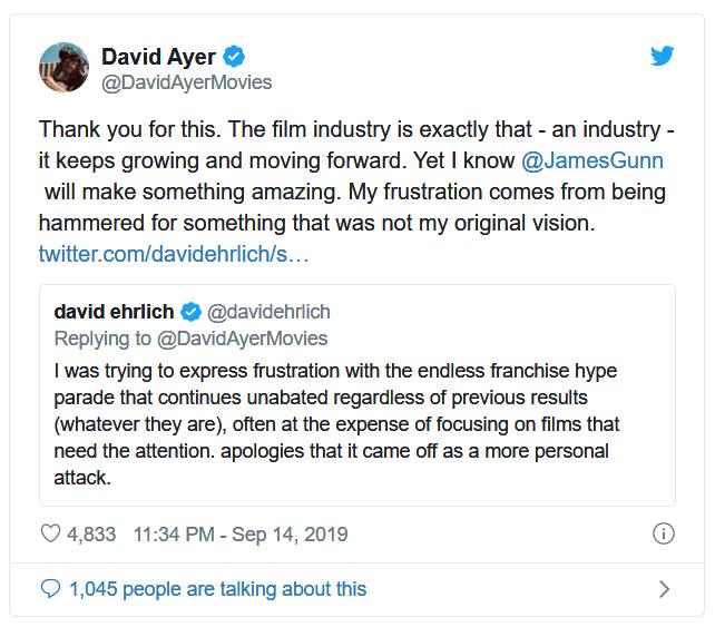 大衛艾亞《自殺突擊隊》儘管票房還算不錯,但不理想的評價讓導演難辭其咎。