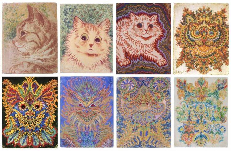 英國一代貓痴畫家路易斯韋恩後期受思覺失調症所苦,他筆下的貓咪也從寫實變得圖騰化了起來。
