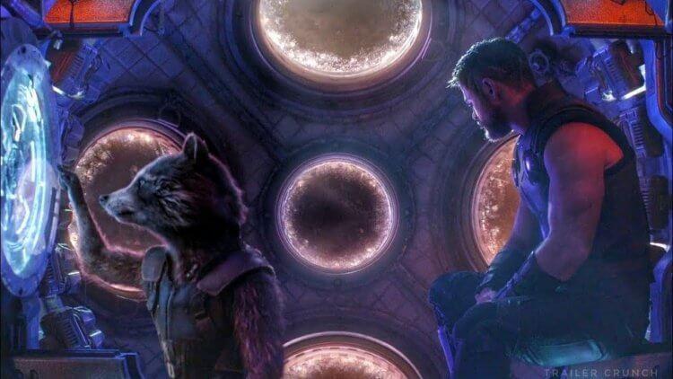 《復仇者聯盟 3:無限之戰》「索爾」克里斯漢斯沃與布萊德利庫柏配音的火箭浣熊。