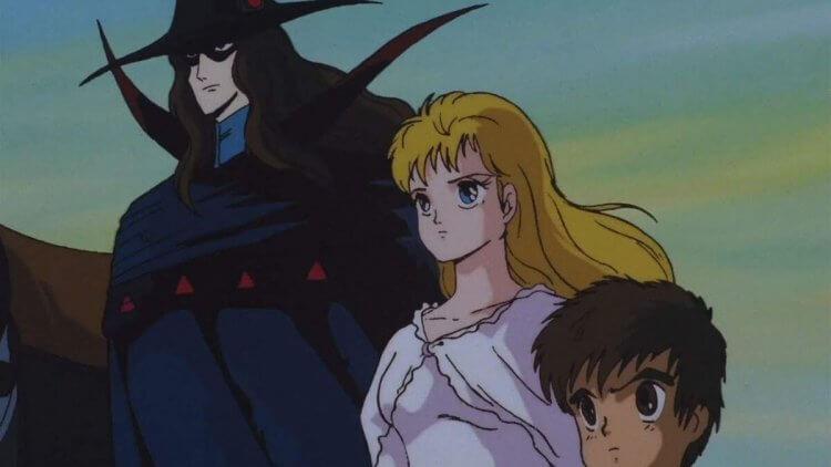 1985 年直發家用影帶的 OVA 版《吸血鬼獵人 D》劇照。