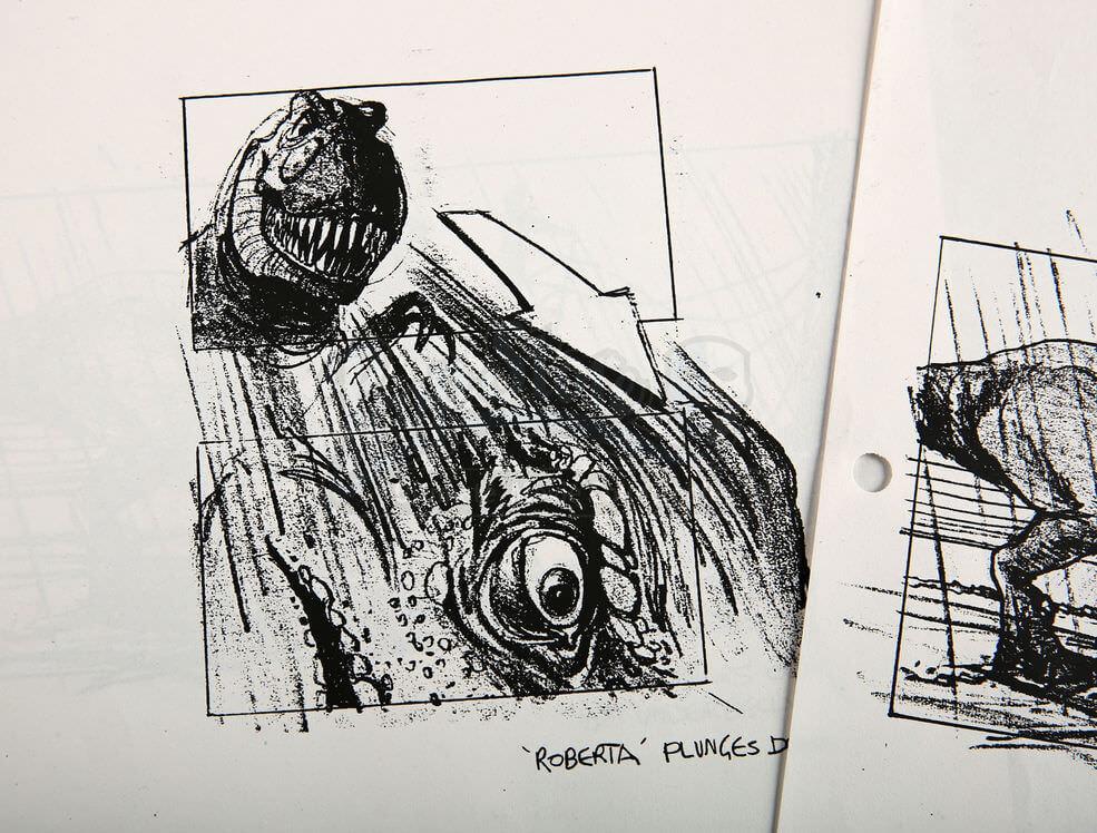 近日公布的《侏羅紀公園》電影分鏡稿中,清楚標註了那隻暴龍的名字:Roberta。