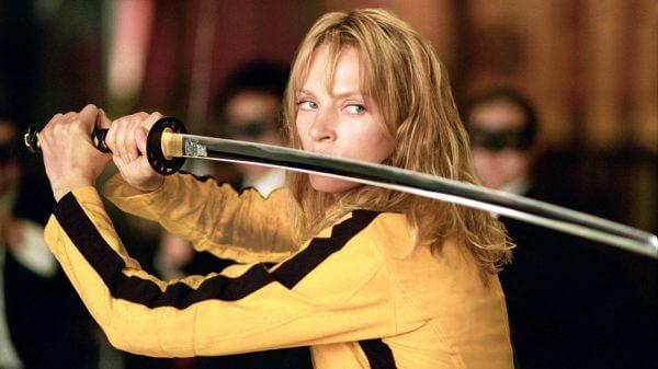 烏瑪舒曼於昆汀塔倫提諾導演作品《追殺比爾》(Kill Bill) 中的酷炫女殺手造型。