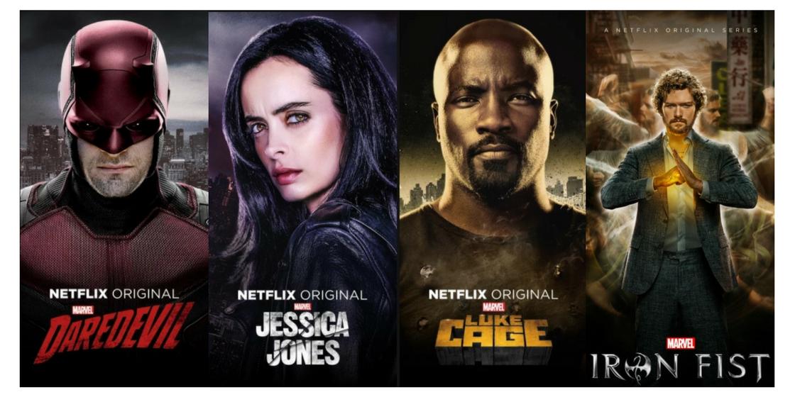 已經推出過 個人影集 的 漫威英雄 們。(Netflix 平台)