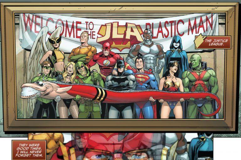 DC 漫畫中的塑膠人 (Plastic Man) 與其他正義聯盟成員。