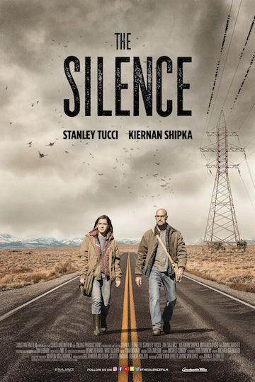由史丹利圖奇與琪蘭席普卡主演的《寂靜殺機》電影海報。