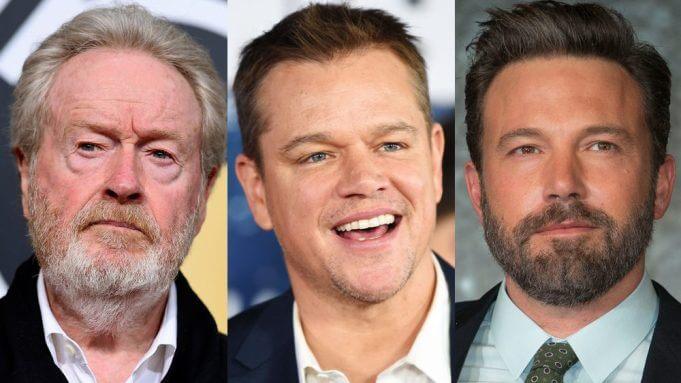 導演雷利史考特 (Ridley Scott) 、麥特戴蒙 (Matt Damon) 與班艾佛列克 (Ben Affleck)