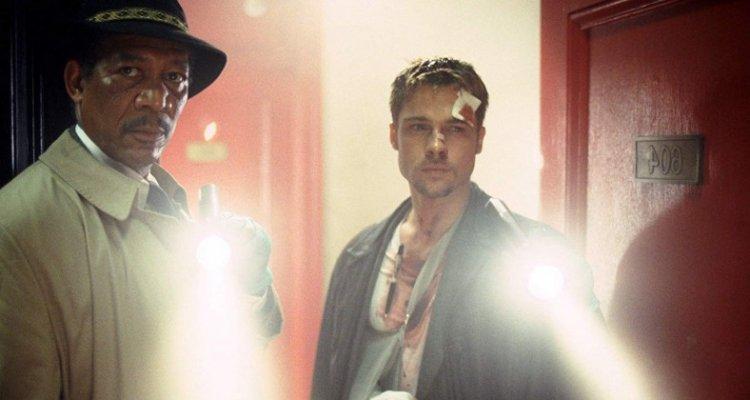 電影《火線追緝令》主角摩根費里曼、布萊德彼特。