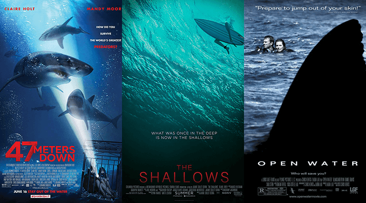 《 深海鯊機 》、《 絕鯊島 》、《 戰慄汪洋二十四小時 》 電影海報 。