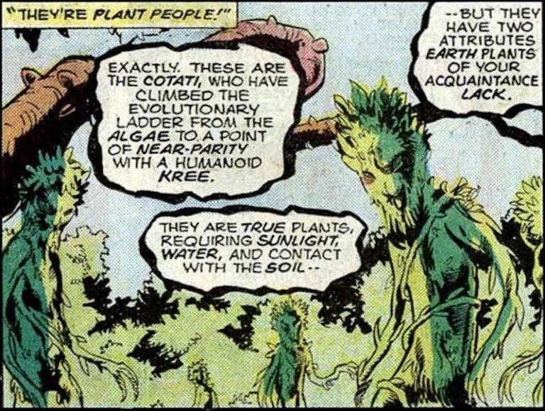 漫威漫畫中,史克魯爾人在星際旅途中發現了星球「科塔提」及其居民樹人們。
