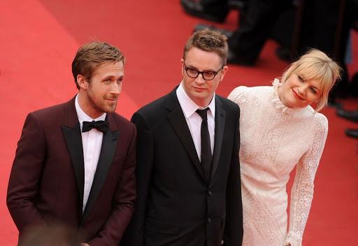 《落日車神》主演雷恩葛斯林、凱莉墨里根及導演尼可拉斯溫丁黑芬。