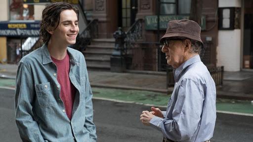 《雨天・紐約》主演提摩西夏勒梅與導演伍迪艾倫。