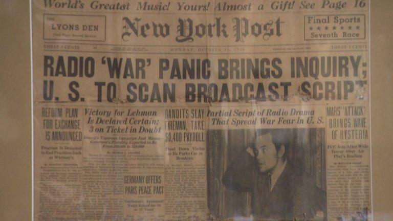 當時紐約郵報上針對廣播劇《世界大戰》引起假新聞恐慌的相關報導。