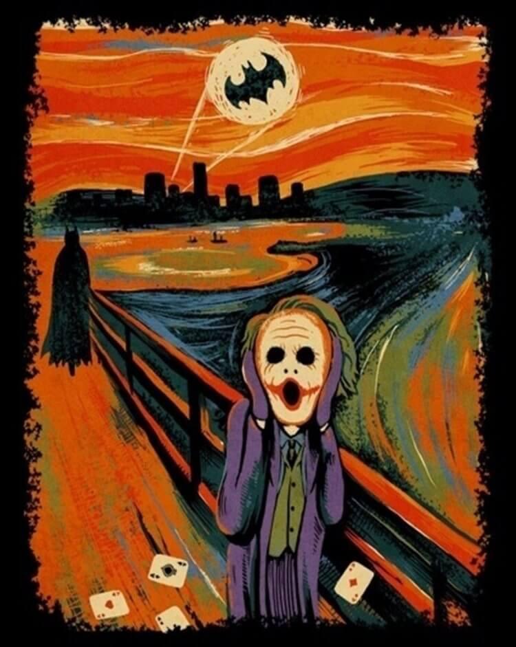 愛德華孟克「吶喊」融合黑暗騎士電影。