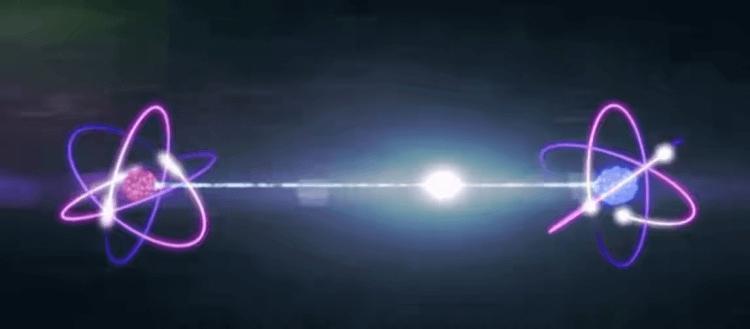 量子糾纏示意圖。