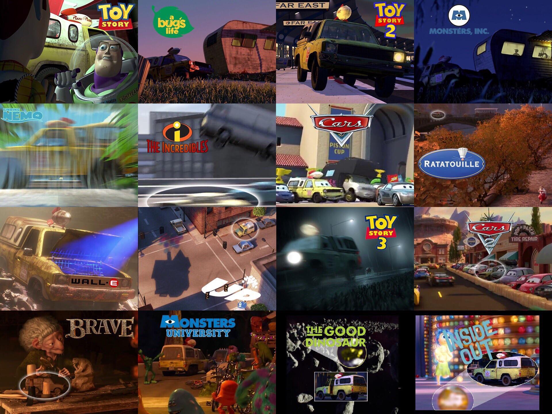 玩具總動員 歷年來皮克斯動畫中的比薩星球車身影